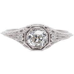 0.62 Carat Diamond Filigree Engagement Platinum Ring