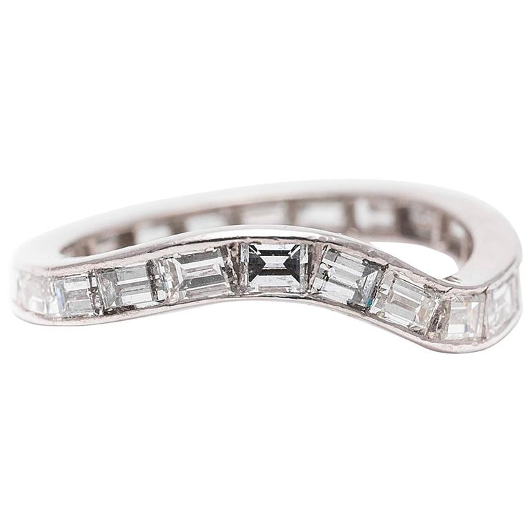 cartier baguette platinum eternity band ring at