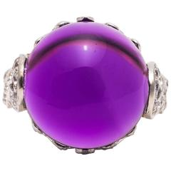 Spectacular Amethyst and Diamond Ring in Platinum and Yellow Gold