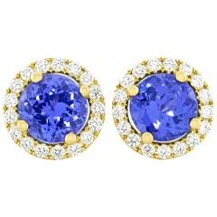 Tanzanite Diamond Gold Stud Earrings