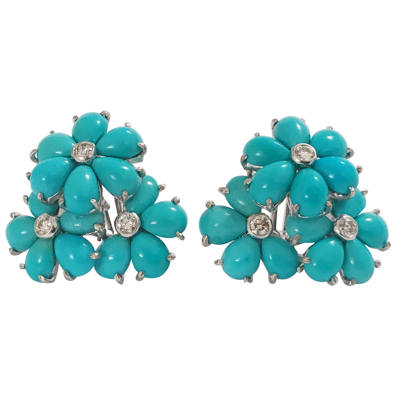 Turquoise Flower Diamonds Cluster Earrings