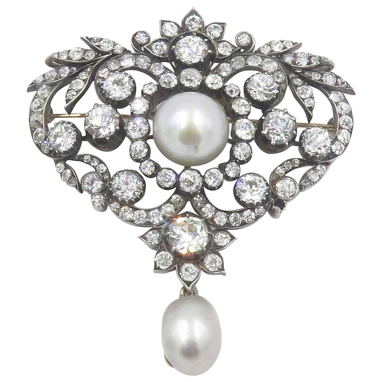 Antique Belle Epoque Louis XV Style Diamond  Pearl Brooch