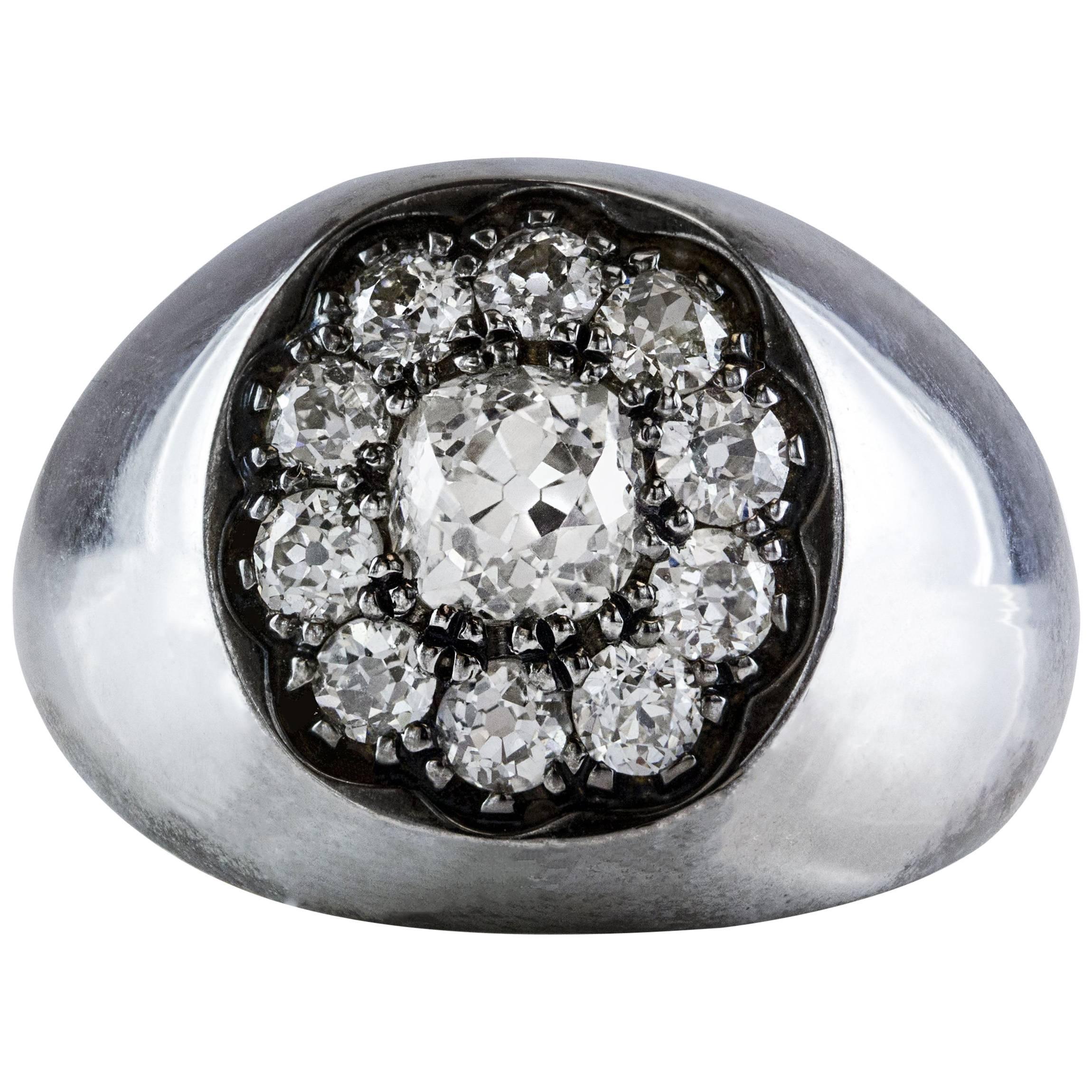 GIA Certified Antique Cut Diamond Platinum Ring