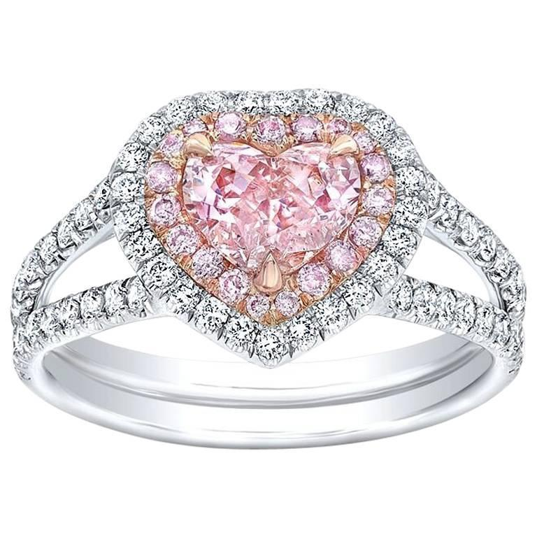 GIA Certified 0.71 Carat Fancy Orange Pink Heart Shape Diamond Platinum Ring