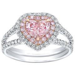 GIA Certified 0.71 Carat Fancy Orangy Pink Heart Shape Diamond Platinum Ring