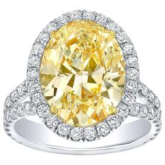 Tamir GIA Certified 5.02 Carat Canary Yellow Diamond Ring
