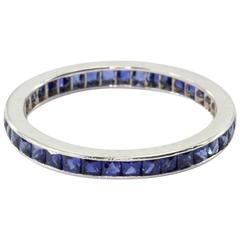 Art Deco French Cut Sapphire Eternity Band