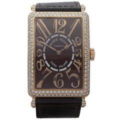 Franck Muller Rose Gold Long Island Relief Original Diamond Automatic Wristwatch