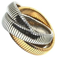 Carlo Weingrill Two-Tone Gold Tubogas Rolling Bracelet