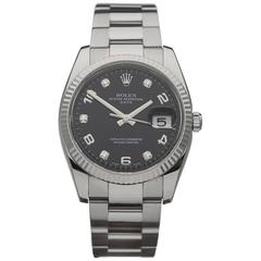 Rolex Stainless Steel diamond dial Oyster Perpetual Date Automatic wristwatch