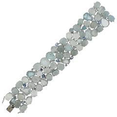 Impressive Gold Aquamarine Sapphire Diamond Bracelet