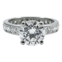 Oscar Heyman 1.50 Carat Round Brilliant Cut Diamond Platinum Ring GIA