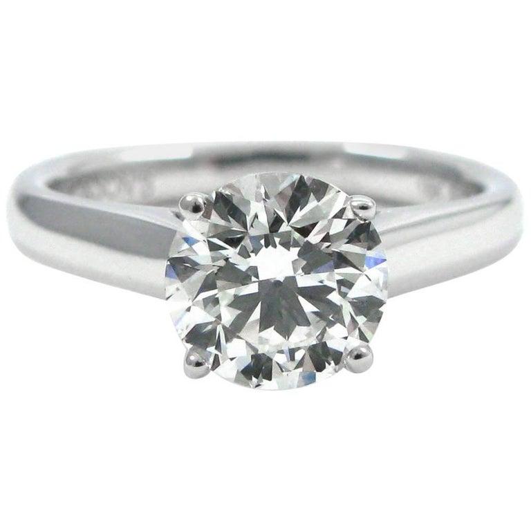 GIA Report 1.22 Carat Round Brilliant Cut Diamond Solitaire Ring