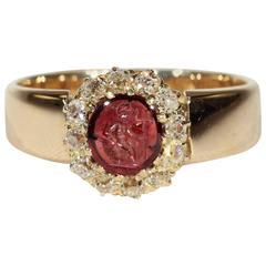 Victorian Intaglio Garnet Diamond Cluster Ring Gold