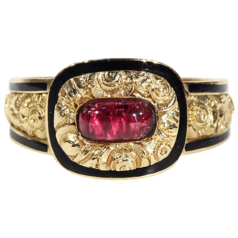 Georgian Garnet Black Enamel Gold Memorial Ring 1