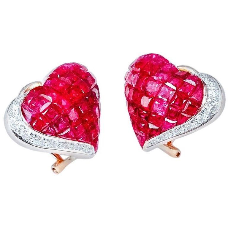 18K White gold invisible Ruby Diamond Gold Heart Earrings