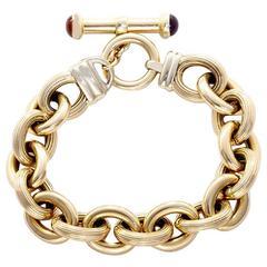 Chic Carnelian Amethyst Gold Link Bracelet