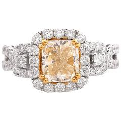 Halo Natural Yellow Diamond  Engagement Ring