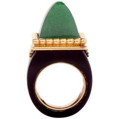 1970's Jade Onyx  Yellow Gold Pyramidal Ring