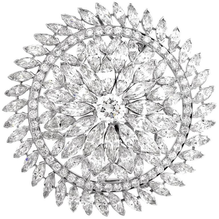 Diamond Platinum Lapel Brooch  Pendant