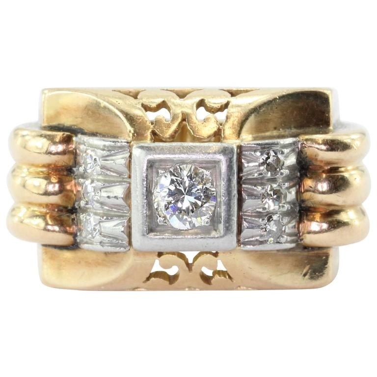French Art Deco Transition Cut Diamond Gold Platinum Tank Ring  For Sale