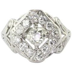 Art Deco Platinum Old Mine Cut Diamond Engagement Ring Circa 1920's