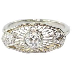 Art Deco Platinum Old Mine Cut Diamond Conversion Ring