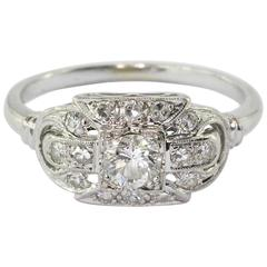 Art Deco White Gold Circular Brilliant Engagement Ring by JABEL