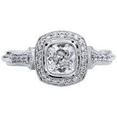 0.74 Carat GIA Round Brilliant Cut Diamond Platinum Engagement Ring