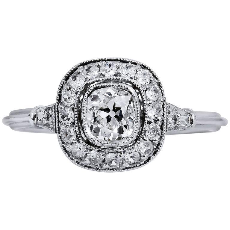 Handmade Old Mine Cushion Cut Diamond Platinum Engagement Ring