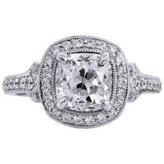 GIA Certified 1.81 Carat Old Mine Cushion Cut Diamond Platinum Engagement Ring