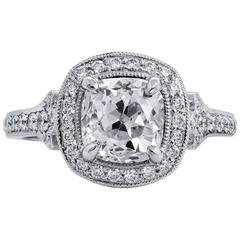1.81 Carat Old Mine Antique Cushion Cut Diamond Platinum Engagement Ring