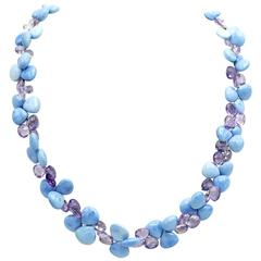 Turquoise Amethyst Briolette Gold Necklace