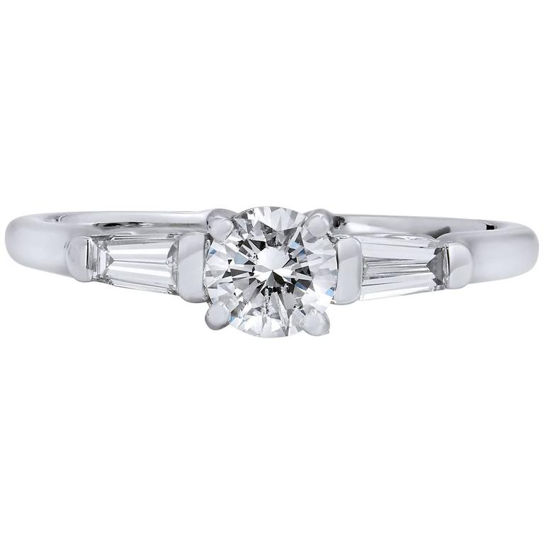 0.40 Carat Round Brilliant Cut and Baguette Diamond White Gold Engagement Ring