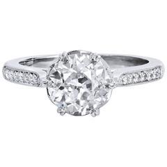 1.73 Carat Old European Cut Diamond Platinum Engagement Ring