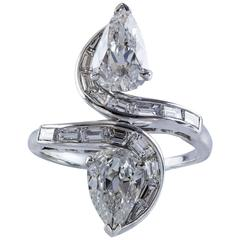 1950s GIA Certified Double Pear Shape Diamond Platinum Ring
