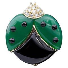 Rare De Grisogono Onyx Diamond Yellow Gold Ladybug Brooch Pin