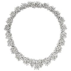 Elegant Diamond Platinum Cluster Design Necklace