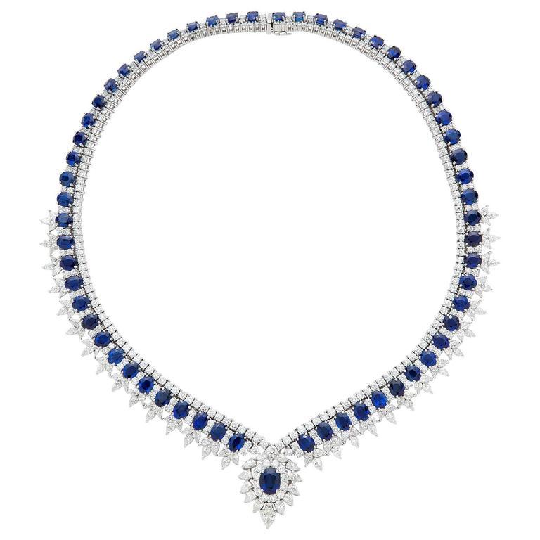 Fabulous Sapphire Diamond gold Necklace