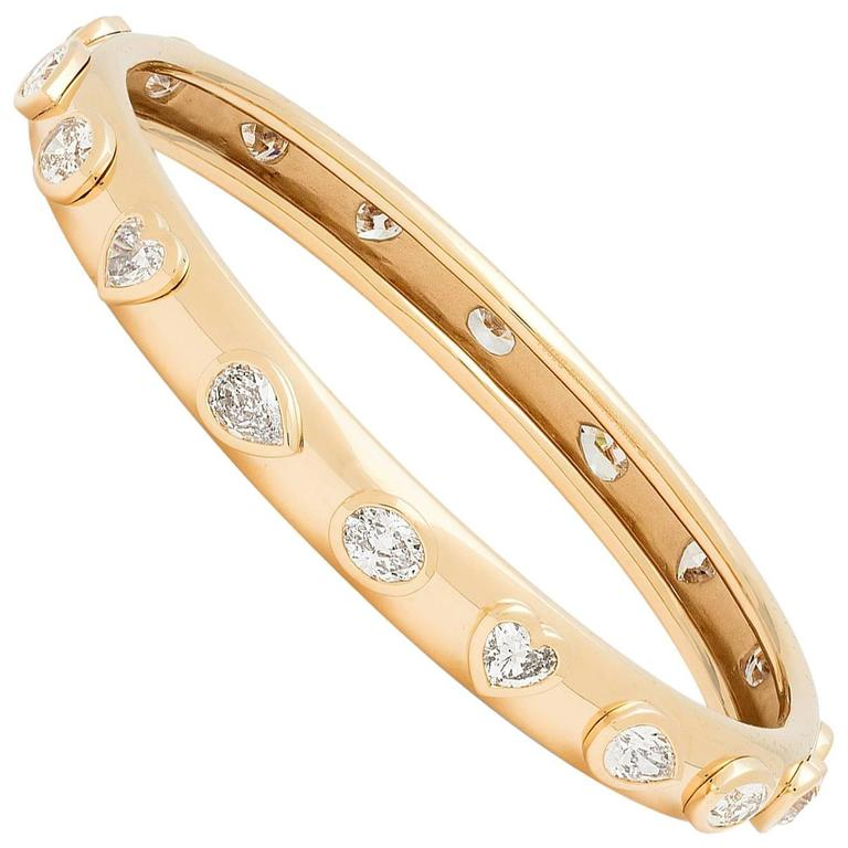 Fancy Cut Diamond gold Bangle Bracelet
