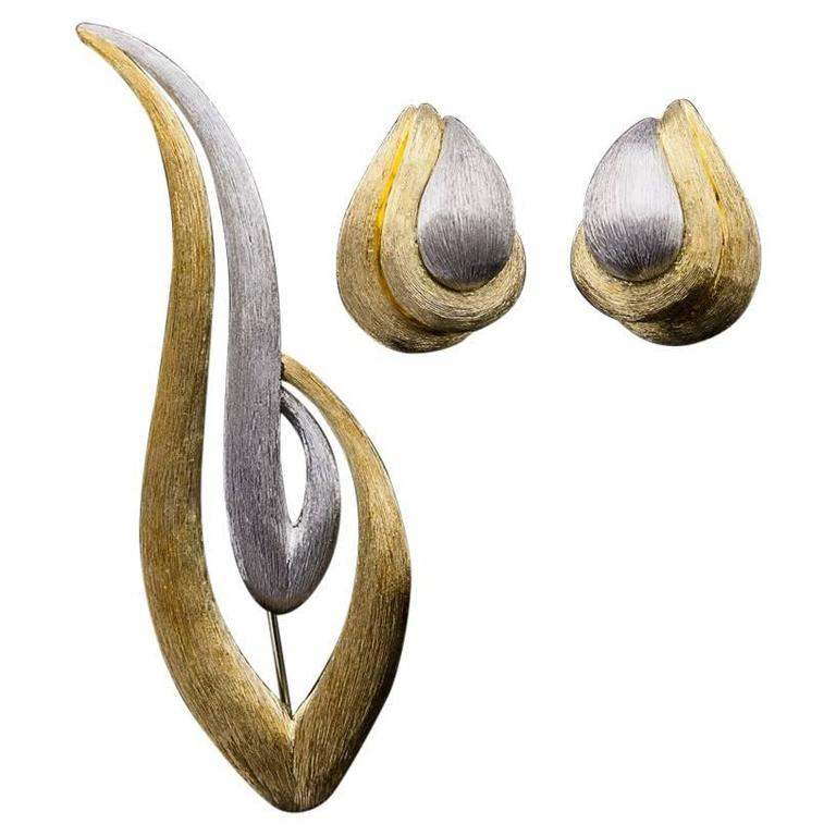 Henry Dunay Yellow Gold Platinum Sabi Finish Earrings and Brooch Set