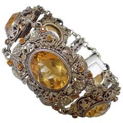 Antique Austro Hungarian Citrine Silver split Pearl bracelet