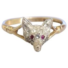 Victorian Diamond Fox head Gold ring
