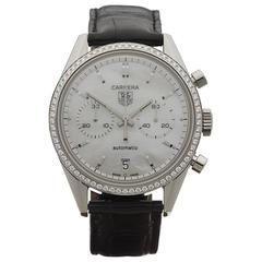 Tag Heuer Stainless Steel Diamond Bezel Carrera Automatic Wristwatch