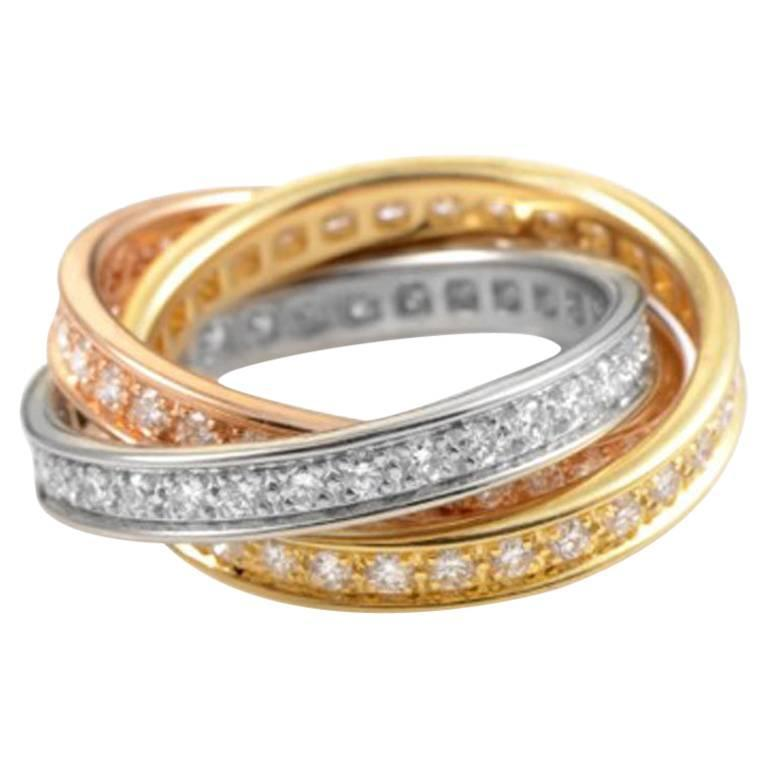 cartier trinity diamond tri color gold band ring for sale. Black Bedroom Furniture Sets. Home Design Ideas