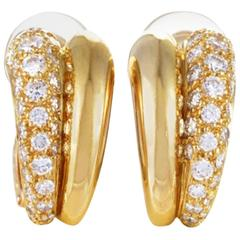 Cartier Pave Diamond Split Huggie Yellow Gold Clip Earrings
