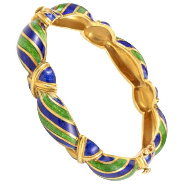 Vintage Tiffany & Co. Blue Green Enamel 18 Karat Yellow Gold Bangle Bracelet