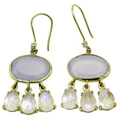 Oval Faceted Chalcedony and Pear Moonstone Gold Danlge Earrings with Diamonds