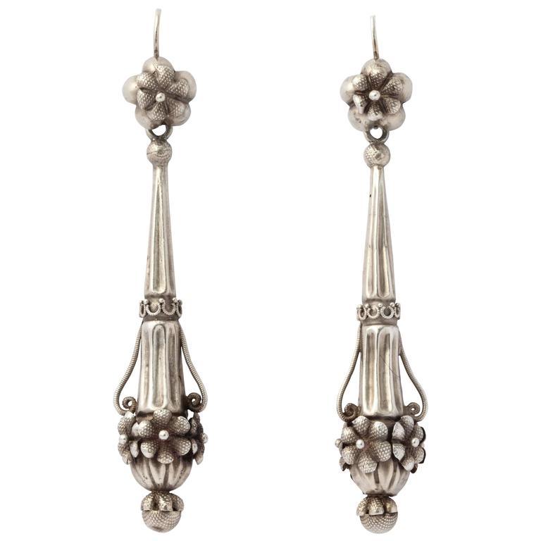 Georgian Chandelier Earrings in Rare Silver