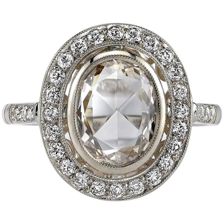 Rose Cut Diamond White Gold Engagement Ring For Sale
